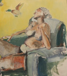 """""""Andrea Study: Ducks on a Wall"""" 4' X 4' oil and charcoal on wood panel: POR"""