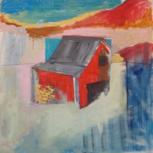 """""""Blue Ridge Barn VA"""" 4' X 4' oil and charcoal on canvas: SOLD"""