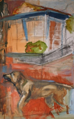 """""""Dog Days"""" 3' X 5' oil and charcoal on canvas: POR"""
