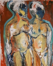 """""""Nude Movement Study"""" 4' X 3"""" oil and charcoal on canvas: SOLD"""