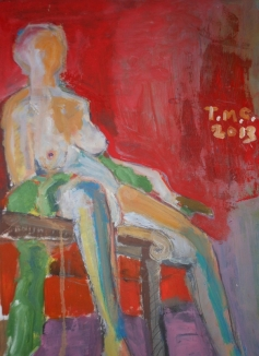"""""""Model in Chair on Red Ground"""" 24' X 36"""" Oil on paper: SOLD"""