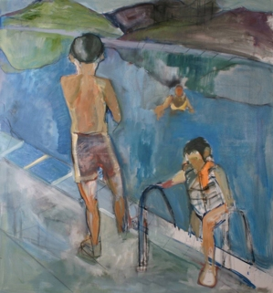"""""""Pool 1"""" 6' X 5' oil on canvas: SOLD"""