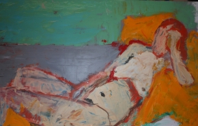 """""""Erica Reclining Study"""" 24"""" X 36"""" oil on wood Panel: SOLD"""