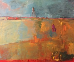 """""""Place 6: Water Tower"""" 5.5' X 6' oil on canvas: POR"""