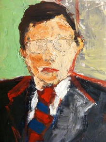 """""""Self Portrait with Stripped Tie"""" 4' X 4.5' oil on canvas: NFS"""