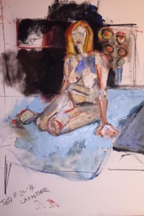"""""""Jessi Seated on Blue Sheet"""" 4' X 4' oil and charcoal on canvas: POR"""