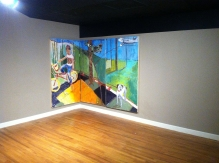 """Gallery shot """"Disraeli Dixie"""" 4"""" X 6"""" each panel, oil with gold and sliver leaf on panel: POR"""