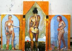 """""""Alter of The Three GA Graces"""" 5' X 3"""" (entire piece), oil on wood panels: POR"""