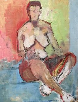 """Ivy Seated Crossed, 25.5"""" X 19"""" Oil on wood, SOLD"""