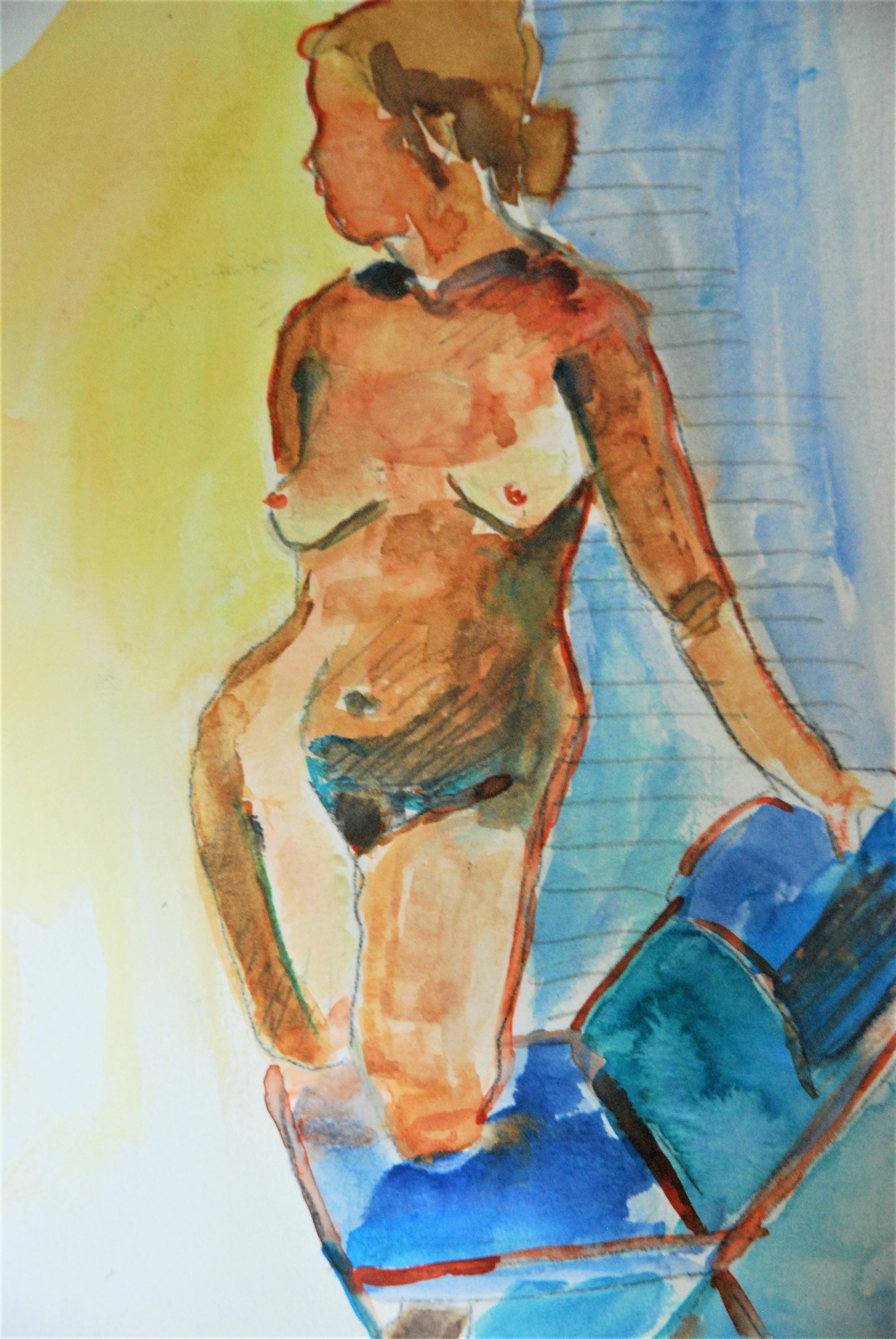 nude folding chair water colour